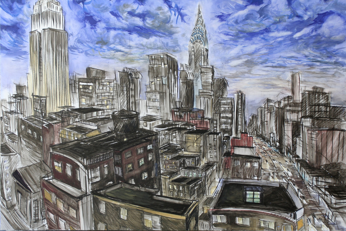 """From Kate's Apartment 2,"" china marker, oil on 1/2"" foamcore, 32""X48""  2008"