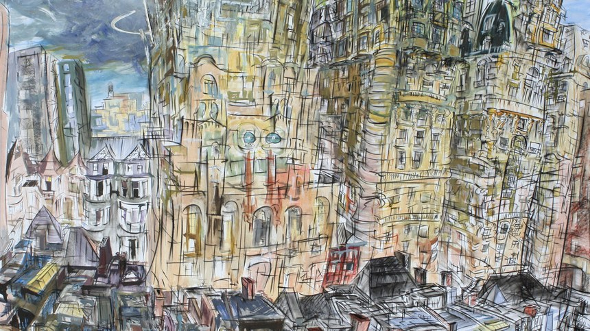 """In Our Neighborhood,"" china marker, acrylic, oil on foam board, 40""X 60""  2008"
