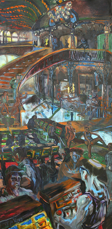 """The Infinity Machine,"" oil on canvas, 79""X 38"" 1995-6"