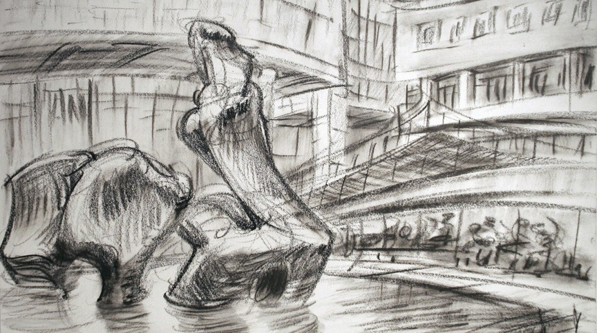 """""""Lincoln Center,"""" china marker on paper, 11""""X 14"""" 2011"""