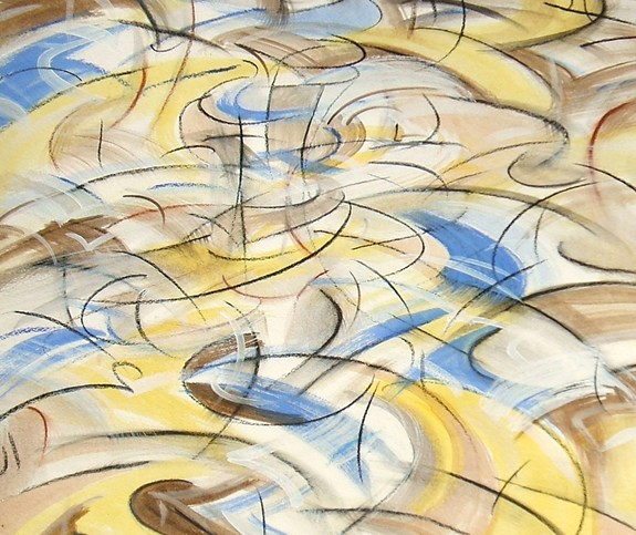 """Motionscape 4,"" china marker, acrylic, oil pastel on paper, 24""X18"" 2006"