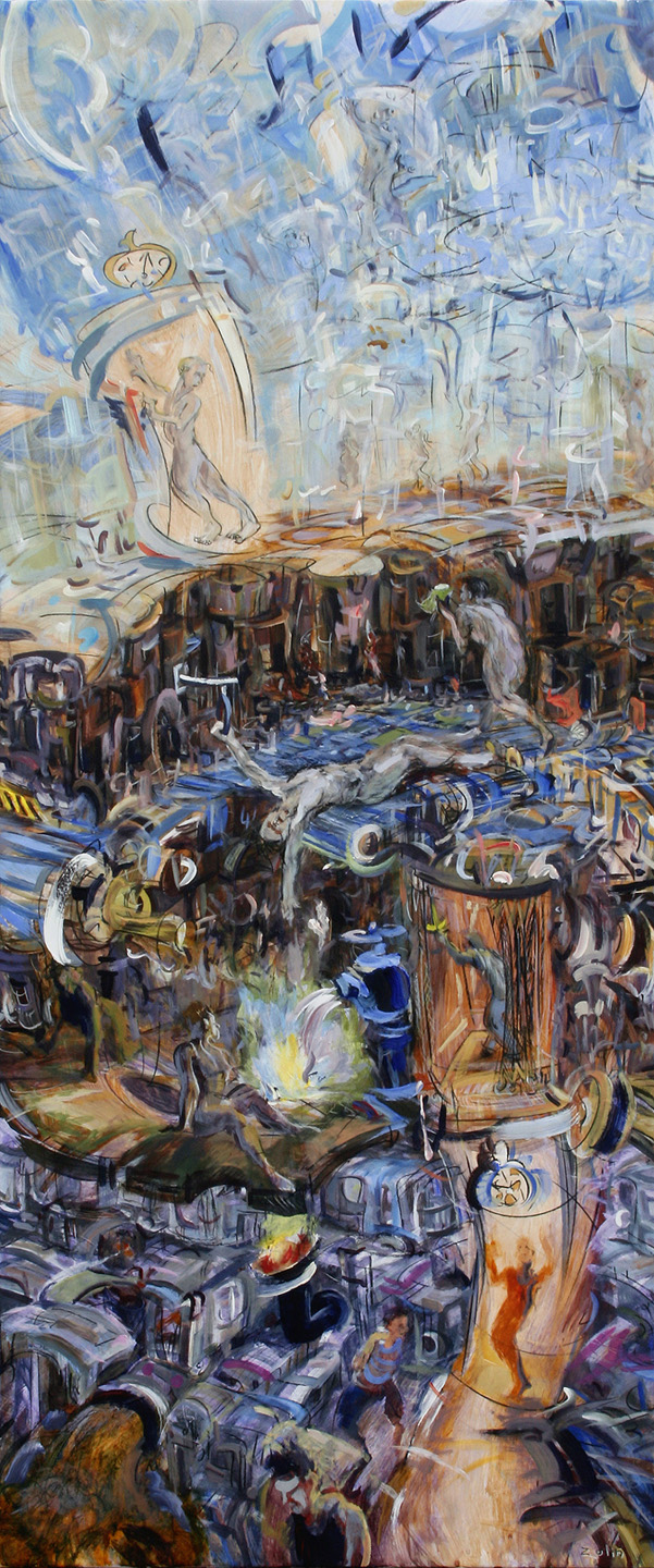 """""""Nothing Is Specific But Everything is Clear,"""" china marker, acrylic, oil, oil pastel on paper, 66""""X30"""" 2012"""