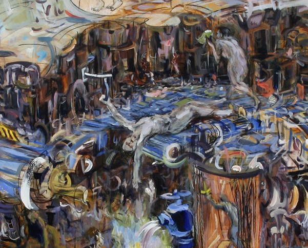 """Nothing Is Specific But Everything is Clear,"" china marker, acrylic, oil, oil pastel on paper, 66""X30""  2012"