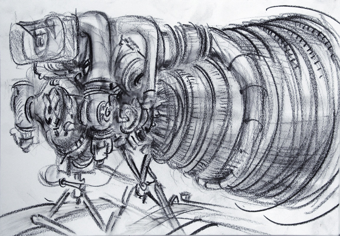 """Space Shuttle Engine,"" china marker on paper, 11""X 14"" 2012"