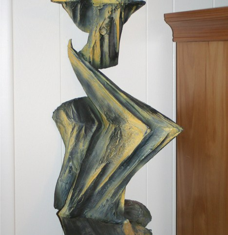 """Abstract Wall Sulpture,"" duct tape and Plasti-Dip on plywood w/hardware, approx 37""X 18""X 9""  2004"