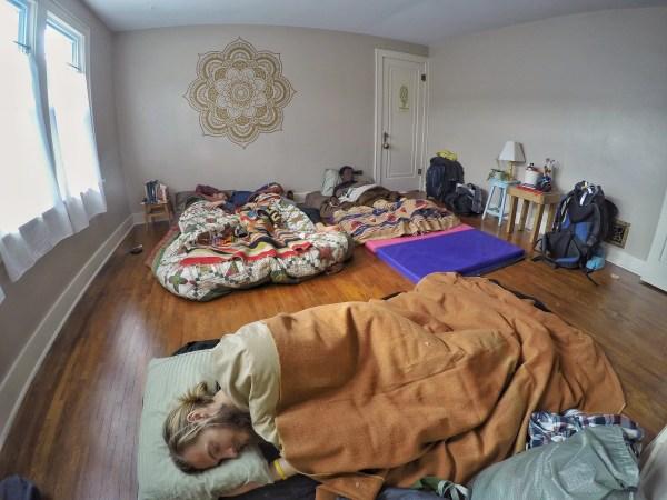 sleeping in a yoga studio style room in hutchinson