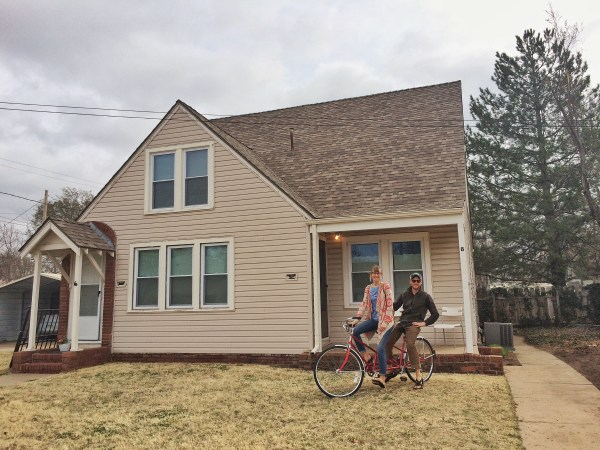 Young couple on a tandem bike in Hutchinson