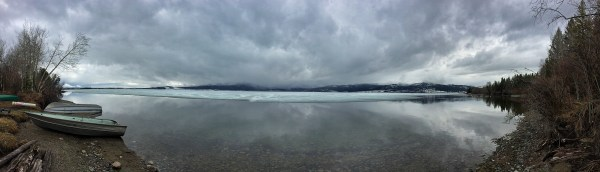 a panoramic photo of henrys lake in Idaho