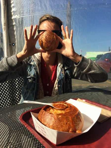 Photo of the Sourdough Bread bowl with Chili at the Boudin Bakery & cafe in san francisco california