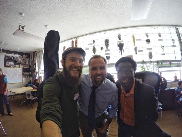 A selfie of two musicians and a teacher in Grand Junction, Colorado