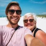 Selfie of Stevie Vagabond and mom at Pensacola Beach