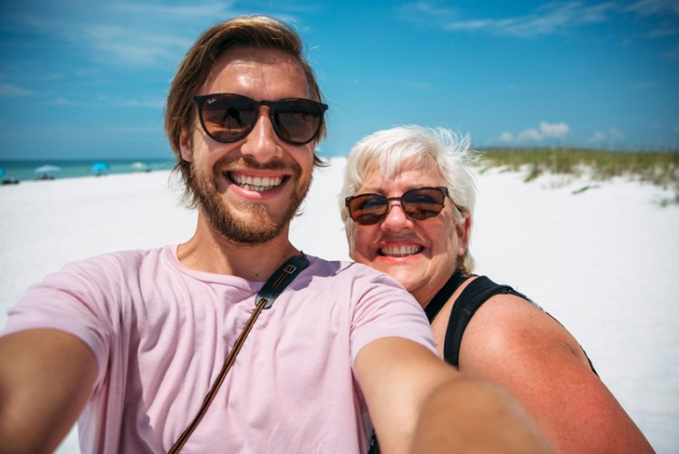 Selfie of Stevie Vagabond and mom at Pensacola Beach