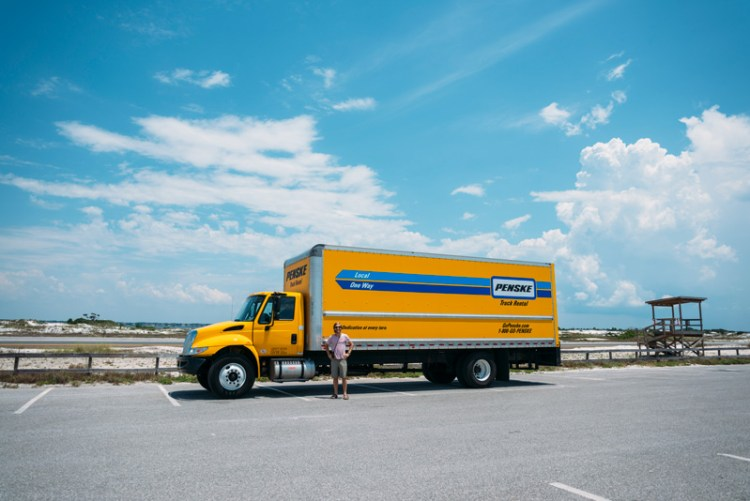 Penske truck parked at Pensacola Beach