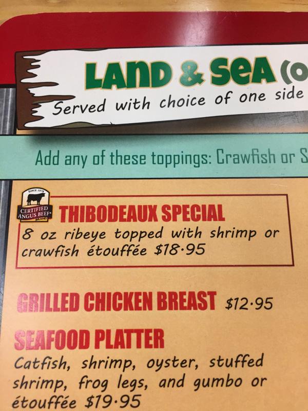 Photo of the menu at a cajun food restaurant in Louisiana