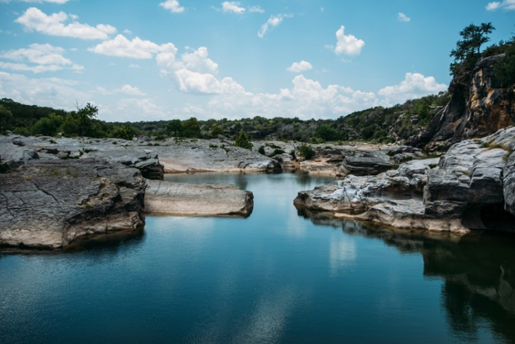 Still water at Pedernales Falls State Park outside of Austin Texas