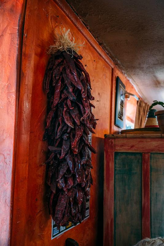 Photo of the spicy decor inside La Nueva Casita Cafe in Las Cruces.