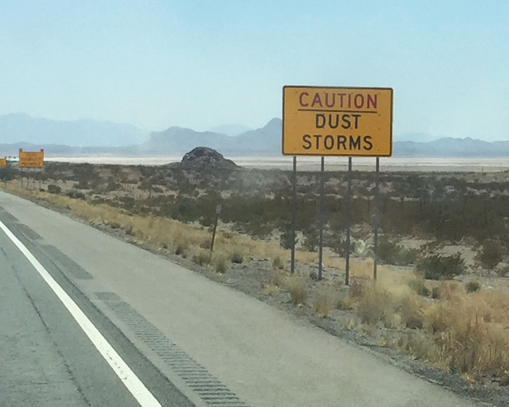 Photo of a Caution Dust Storms sign in Arizona.