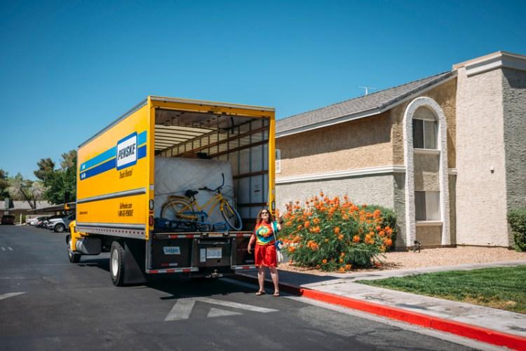 Photo of a lady unloading her Penske truck in Las Vegas.