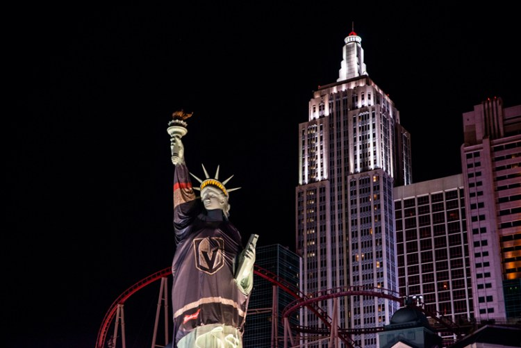 The Statue of Liberty at New York New York in Las Vegas wearing the Las Vegas Knights Jersey