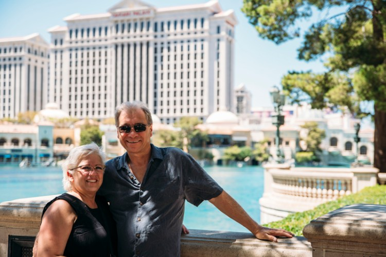 Parents in front of the Bellagio