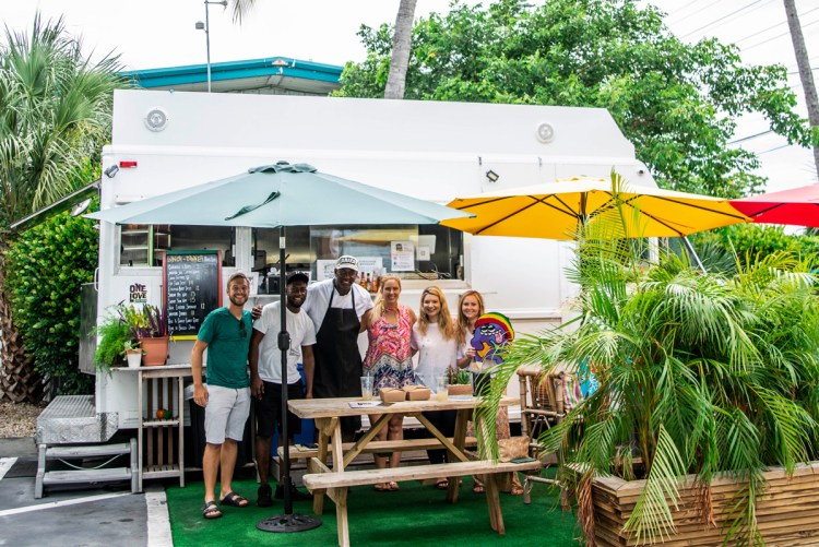 Photo of Stevie Vagabond and Key West Foodies with crew at One Love Food Truck in Key West.