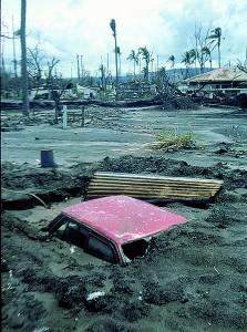 Aftermath of volcano eruption, Rabaul, PNG, 1994