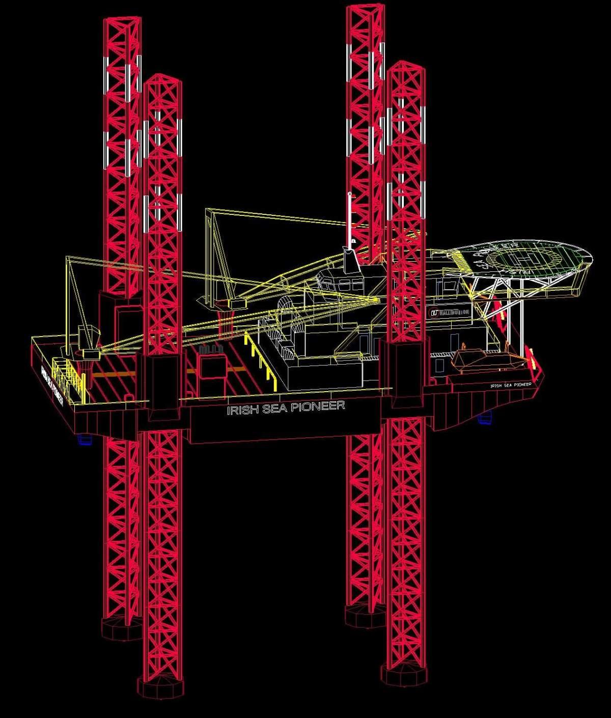 Finite element model of  jack-up Irish Sea Pioneer
