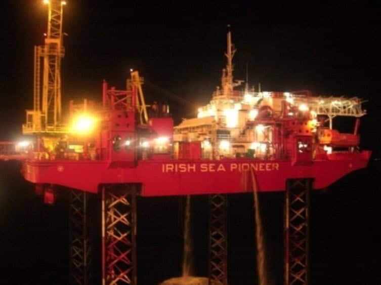 Jack-up Irish Sea Pioneer at Night