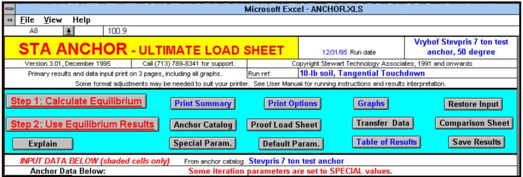 STA ANCHOR Ultimate Load Sheet