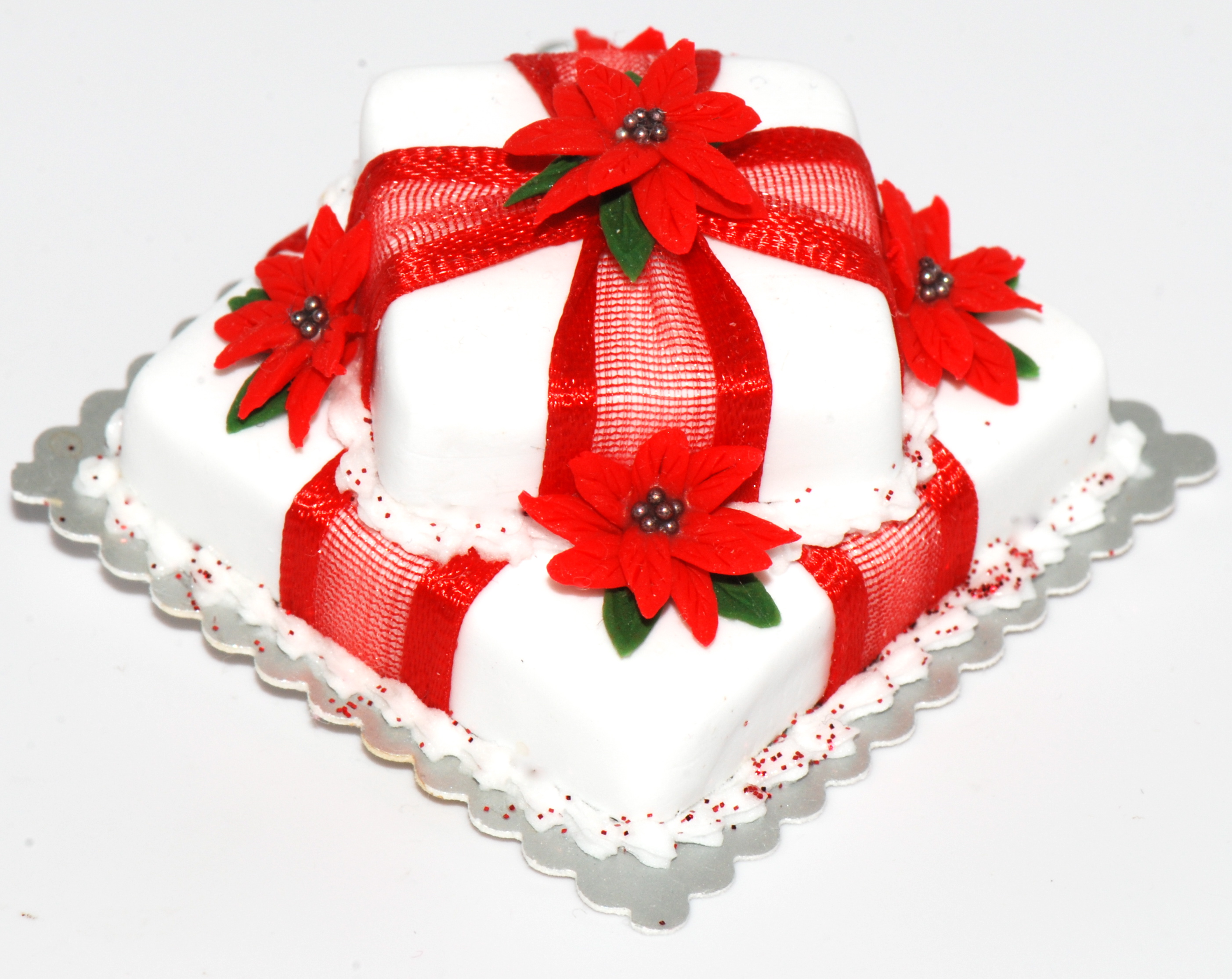 2 Tiered Poinsettia Christmas Cake Stewart Dollhouse