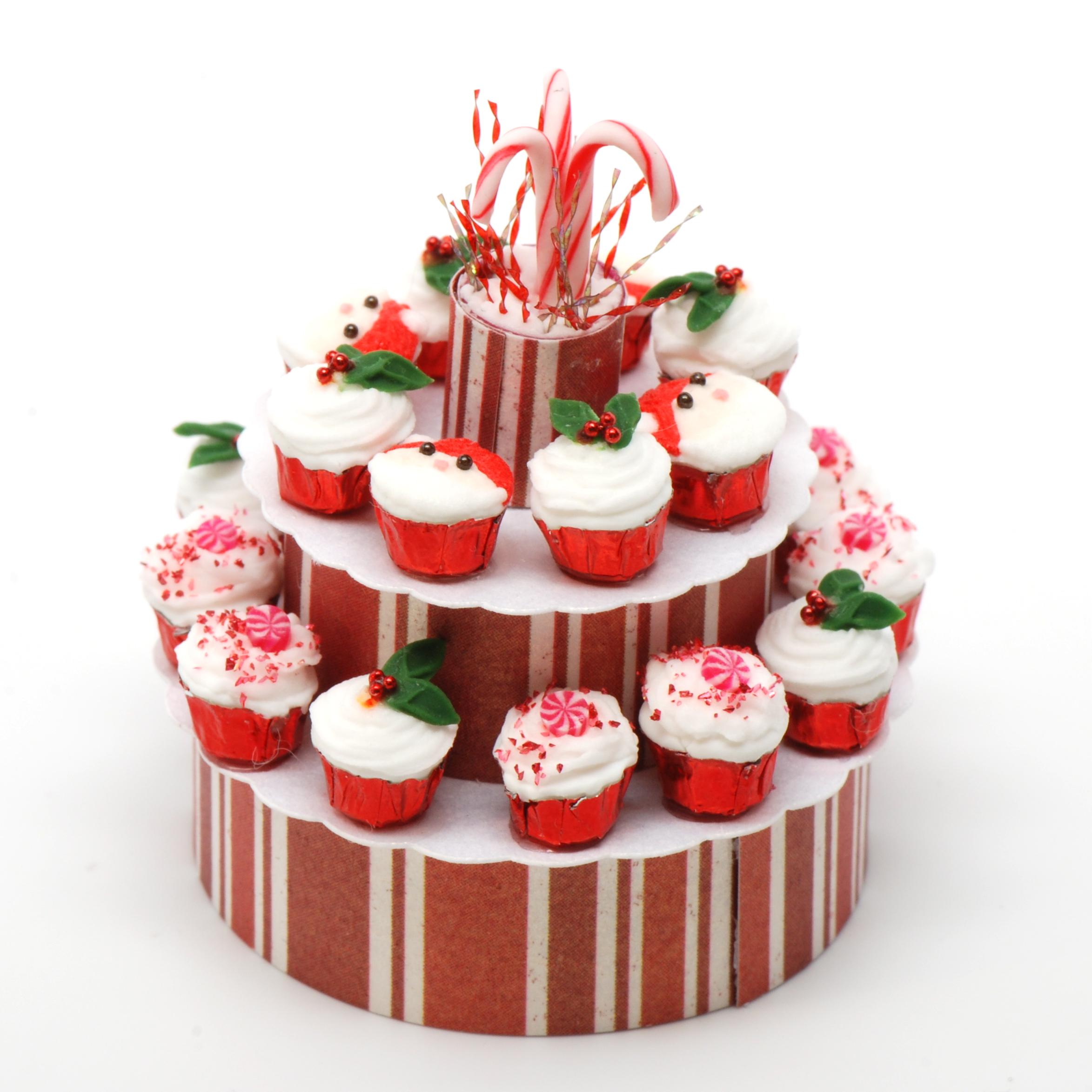Santa Christmas Cupcake Display Stewart Dollhouse Creations