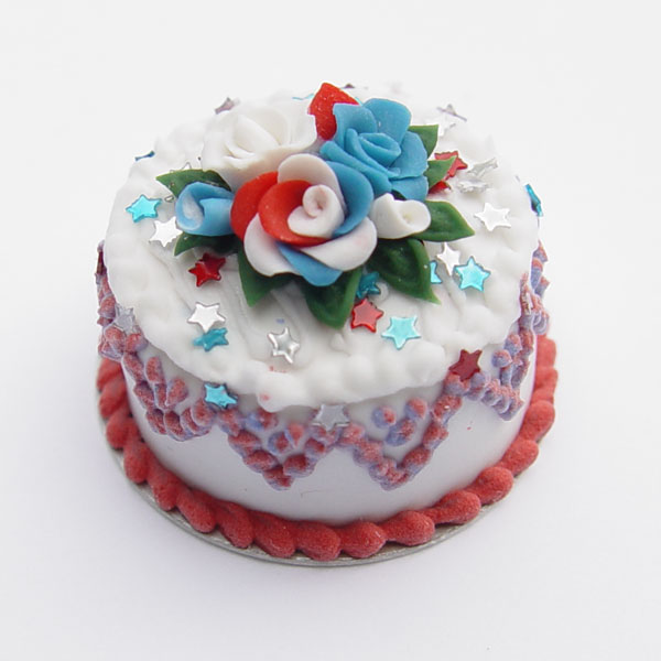 4th of July Cake wRed White and Blue Roses  Stars