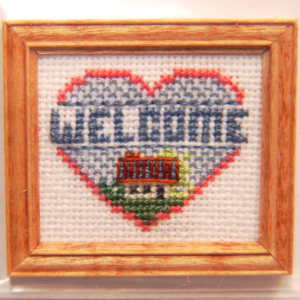 Framed Welcome Heart Cross Stitch Stewart Dollhouse