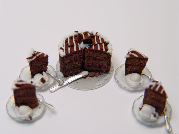 Minature Chocolate Cake w4 slices and ice cream  Stewart Dollhouse Creations