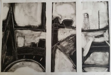 Blarney Street, Monoprint, 1998, 45cm x 60cm, NFS - Happy Cork Residency memories of nights in on Blarney Street, by the fire , Reading, chatting, listening to Friendly FM