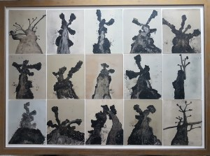 """""""The Tree Portraits I"""", 15 Framed Monoprints Series, 118cm x 168 cm, £2,000 - this was selected for Woolwich Contemporary Print Fair 2020, and Art Number 23 'New Era' Online 2020/21"""