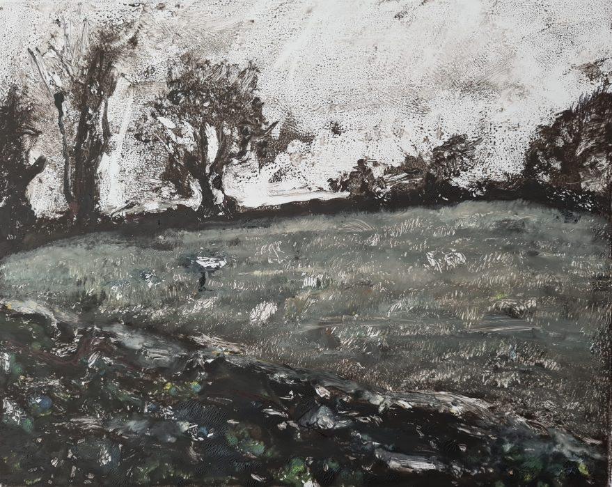 Weeke Hill, Monoprint, 32cm x 24cm
