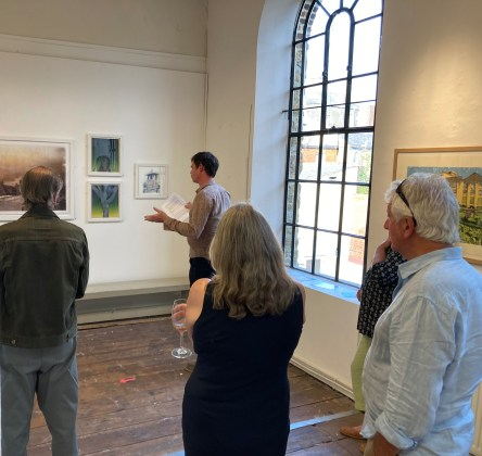 Stewart giving his Artist's Talk at the Bridport Arts Centre, 4th September 2021, as part of the Urban Rural Group Show