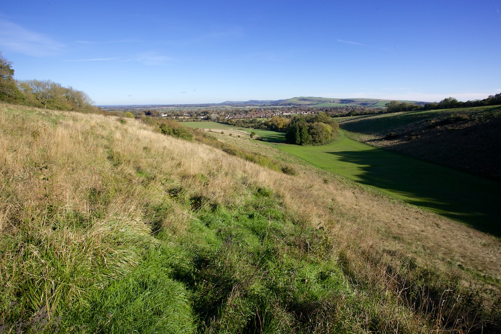 view of the rifle range near Steyning on the South Downs