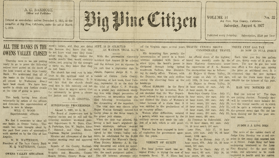 Big Pine Citizen, Big Pine, Inyo County, California, August 6, 1927, announcing the closing of all the Inyo County banks, thus essentially ending the water wars.