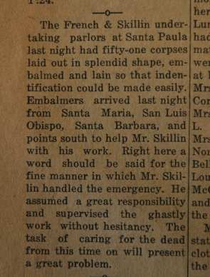 From the Fillmore American, Thursday, March 15, 1928, page 4. Victims of the St. Francis Dam disaster.