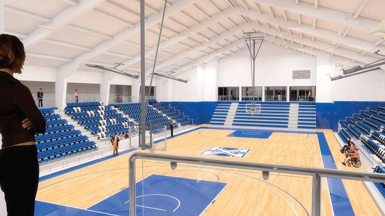 multi gym chair steel dubai new gymnasium floor and bleachers kickoff oland centre renovations; claim name your seat ...