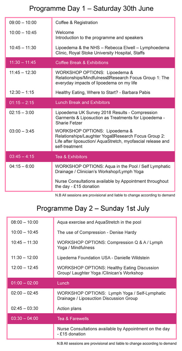 timetable-Lipoedema-UK