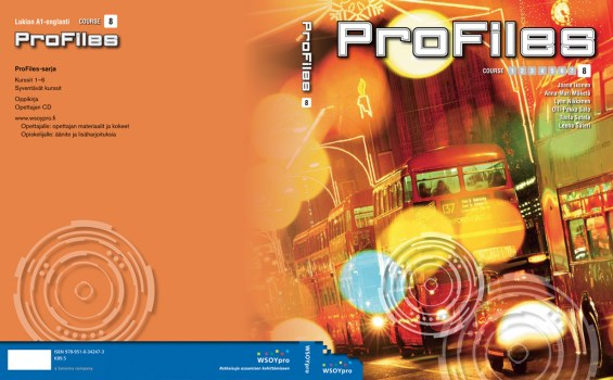 """Cover and lay-out design for """"Profiles"""" English study book series for upper secondary school. Published by Sanoma Pro 2007-2011"""