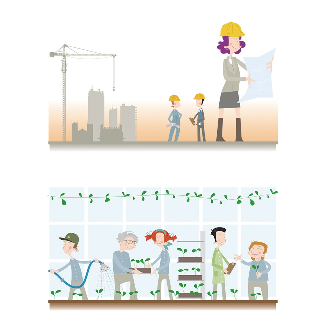 """Illustrations for """"Equality at work"""" project by Finnish Ministry of Employment and the Economy, 2014"""