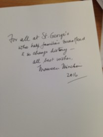 Minchin's inscription in the book: Milk Matters