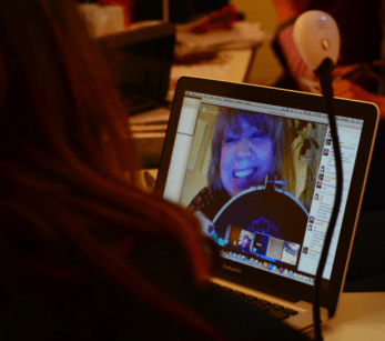 Livestream iChat with Karin Holmberg in Sweden, Slow Textiles Group, 2013