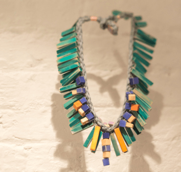 Bridget Harvey recycled beaded necklace, The Geometrics
