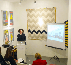 Alexandra Gerstein's Omega Workshops Textiles Talk surrounded by Camille Walala and Katherine May's work, Slow Textiles Group, 2013