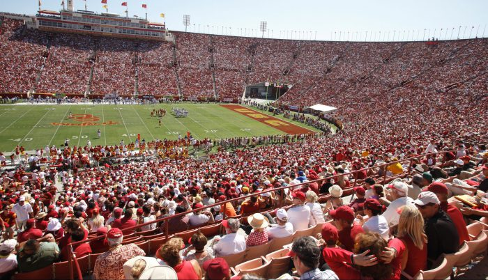 USC Trojans fans at the football game